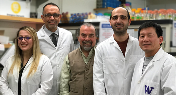 The Whitening Lozenge Team members: Sanaz Saadat, Sami Dogan, MSE Professor Mehmet Sarikaya, MSE grad student Deniz Yucesoy, and MSE Research Scientist, Hanson Fong