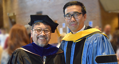 MSE Professor Fumio Ohuchi and MSE Department Chair Jihui Yang at MSE's 2017 graduation celebration