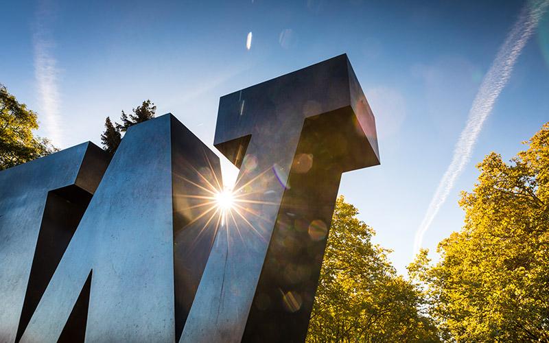 UW W sculpture in the sunshine